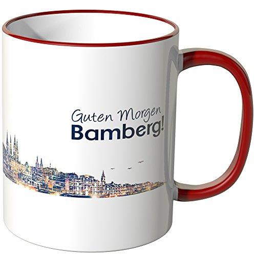WANDKINGS® Tasse, Schriftzug Guten Morgen Bamberg! mit Skyline bei Nacht - ROT