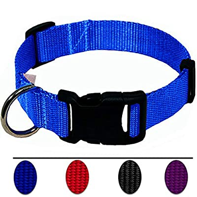 AEDILYS Adjustable Nylon Dog Collar Classic Solid Colors for Small Sized Dogs Neck 11-17 inch from AEDILYS