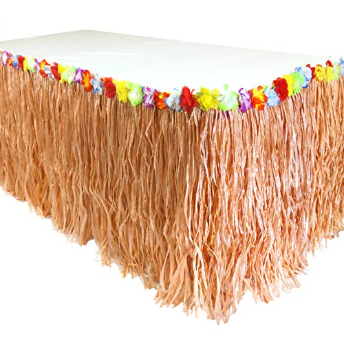 GIFTEXPRESS 9 feet X29 Luau Grass Table Skirt, Hawaiian Luau Libiscus Table Skirt for Hawaiian Party, Luau Party Supplies, Luau Party Decorations, Moana Birthday Party (Natural Hay Grass)
