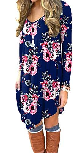 POSESHE Women's Long Sleeve Casual Loose T-Shirt Dress Flower Navy Blue X-Large