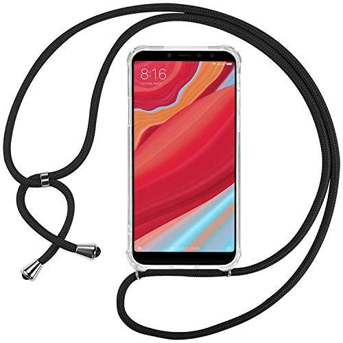 Ingen Funda con Cuerda para Xiaomi Redmi S2/Xiaomi Redmi Y2- Carcasa Transparente TPU Suave Silicona Case con Colgante-Negro
