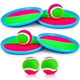 Toss and Catch Ball Game Outdoor Game for Kids Backyard Games Beach Game for Kids(Upgraded) (4 Paddles 4 Balls)