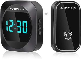 comprar comparacion AUOPLUS Pantalla LED de Tiempo Timbre Inalámbrico Electricidad Autogenerada,Timbre sin Pilas Impermeable IP64,4 Niveles Aj...