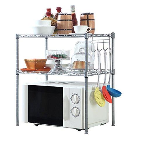 JJJJD 3-stufiges Aufbewahrungsgestell für Mikrowellenständer, Küchenregal für Mikrowelle, Bäckerei-Regal mit Gewürzregal, Silbergrau (Color : Chrome)