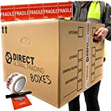 10 Strong Extra Large Cardboard Storage Packing Moving House Boxes Double Walled with Carry Handles and Room List Fragile Tape Marker Pen and 5 Large Fragile Stickers 53cm x 53cm x 41cm 115 Litres