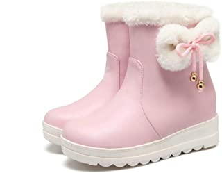 Women Platform Snow Ankle Bootie Faux Leather Sweet Bow Warm Fur Lined Girl Anti-Slip Short Boots
