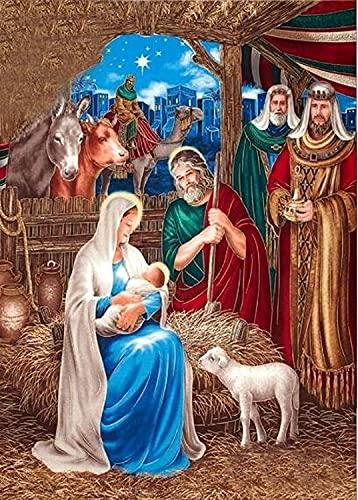 JONJUMP 5d Diy Paintings Jesucristo nacimiento pared patrón costura mosaico religioso pegatinas cuadrados 35x45cm