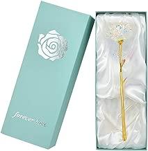 SW Real Rose Dipped in 24k Gold Foil Elegant Flower Eternal Love Romantic Rose Decor Gift w/Nice Box (White#02)