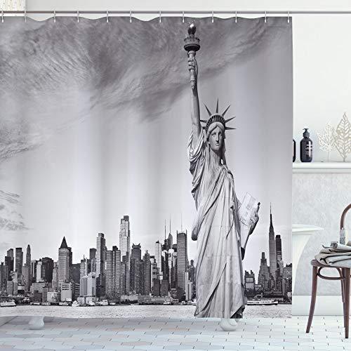 ABAKUHAUS Schwarz & weiß Duschvorhang, Freiheitsstatue, mit 12 Ringe Set Wasserdicht Stielvoll Modern Farbfest & Schimmel Resistent, 175x200 cm, Hellgrau Weiß Schwarz