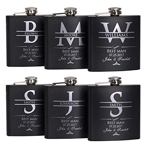Groomsmen Gift - Groomsman Gifts For Wedding, Wedding Favor Customized Flask w Optional Gift Box - Engraved 6oz Stainless Steel Hip Flask Custom Personalized Flask Gift (6 sets)
