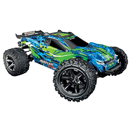 Traxxas 67076-4 Rustler 4x4 VXL Off Road Electric Remote Control RC Car with Remote Control for Adults and Kids, Green