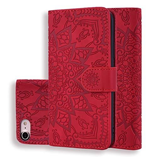 BANAZ Teléfono for el iPhone 8 y 7 Becerro Patrón Plegable Doble de diseño en Relieve de Cuero Cubierta del teléfono con la Billetera y el sostenedor y Ranuras for Tarjetas (Color : Red)