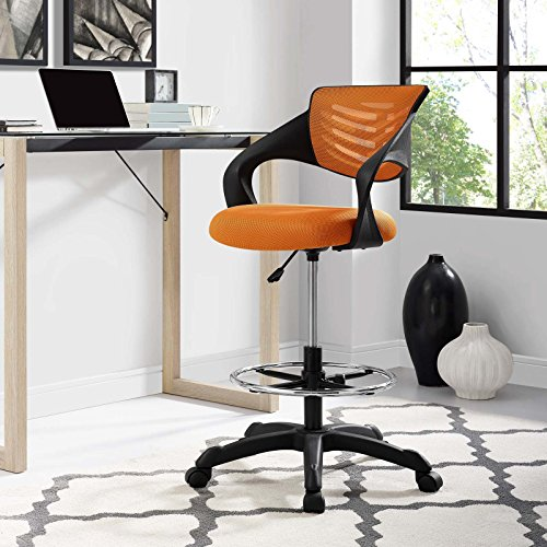 Modway Thrive Drafting Chair - Tall Office Chair for Adjustable Standing Desks in Orange