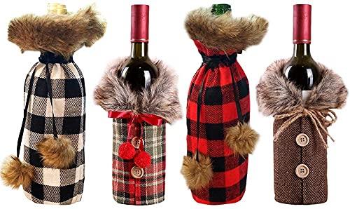 HVKLHNF Juego de botellas de vino de Navidad, 4 piezas de suéter de Navidad, bolsa de botella de vino, vestido de botella de vino, bolsa de regalo reutilizable, decoración de fiesta de Navidad