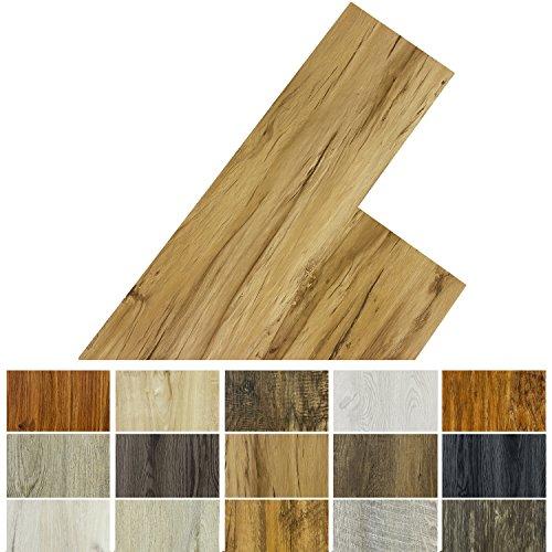 STILISTA Vinyl Laminat Dielen, 15 Dekors wählbar, 5,07m² oder 20m², rutschfest, wasserfest, schwer entflammbar - 20m² Apfelholz warm