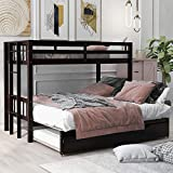 Twin Over Twin/King Bunk Beds with Pull-Out Trundle, Solid Wood Trundle Bed with Safety Ladder (Espresso)