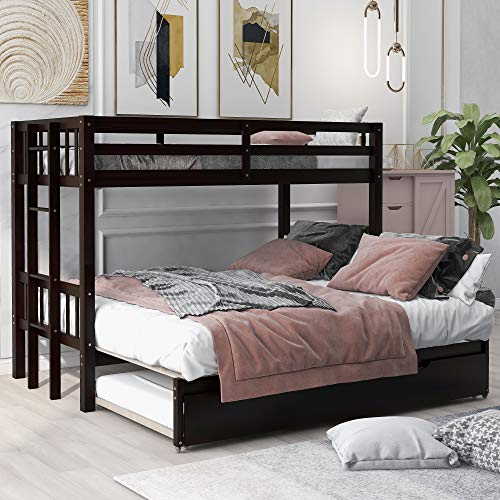 Twin Over Twin Bunk Beds with Pull-Out Trundle, Solid Wood Twin Trundle Bed with Safety Ladder for Kids(Espresso)