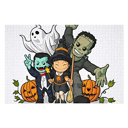 Halloween Witch, Vampire, Frankenstein & Ghost Water Bottle Puzzles for Adults, 1000 Piece Kids Jigsaw Puzzles Game Toys Gift for Children Boys and Girls, 20