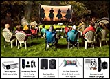 Backyard Theater Kit | Recreation Series System | 11' Front and Rear Projection Screen with HD Savi 3000 Lumen Projector, Sound System, Streaming Device w/WiFi (EZ-100)