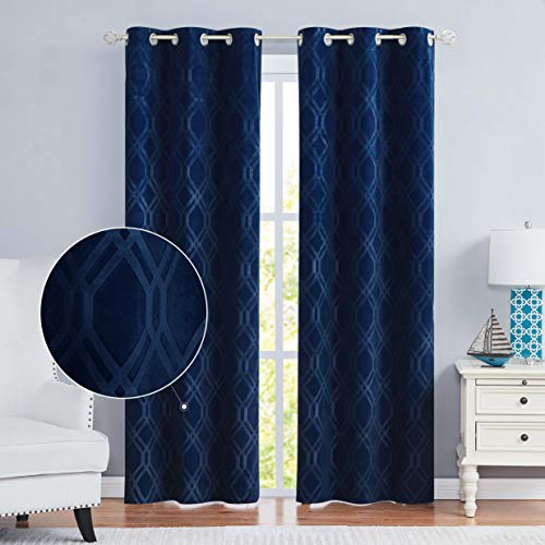 Nottingson Home Velvet Curtains Blue 84 Inches Long for Living Room/Bedroom Moroccan Diamond Pattern Drapes Room Darkening Luxury Curtains with Grommets Royal Blue 40' Wx84 L,Set of 2