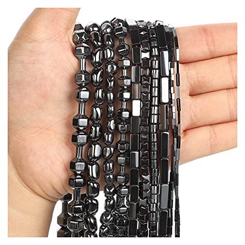 JOMOSIN KJ830 Perlas de Piedra Natural Perlas de hematita Negras largas Redondas Sueltas Perlas para la fabricación de Joyas Bricolaje Accesorios de Pulsera Accesorios de joyería