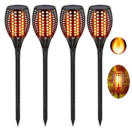 TaoTronics Garten Fackeln 4 Stück Solarleuchte, Solar Garten Licht Gartenleuchten Solar Fackel Solarlampen für Außen, mit realistischen Flammen und IP65 wasserdicht