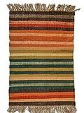 Designs Emporium Tapis kilim en jute noué à la main Vert indien 60 x 90 cm