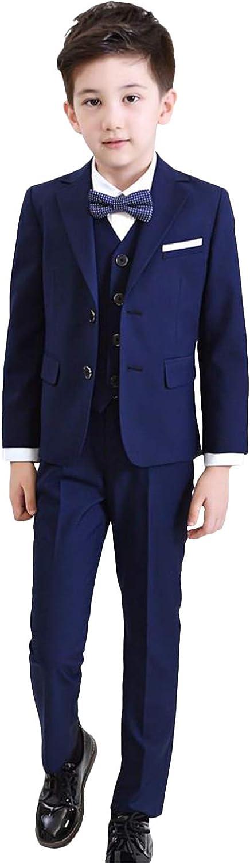 QZI Boys' Suit Notch Lapel Two Buttons Slim Cut Prom Tuxedo Set