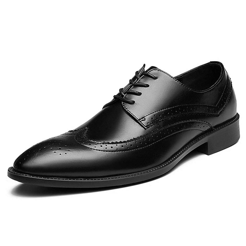 [DOUERY LTD] メンズ ビジネスシューズ 革靴 通気性 紳士靴 27.5cm ポインテッドトゥ メンズ ビジネス通気性 厚底 黒色 防滑 27.5cm レースアップシューズ 快適 通気性 ウオーキングシューズ 屈曲性