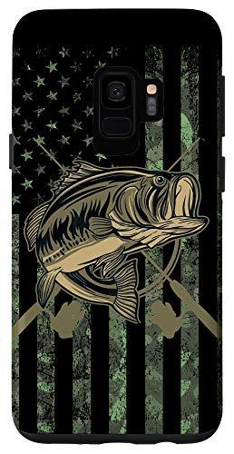 Galaxy S9 Camo American Flag Bass Fishing Gift Love Fishing Fisherman Case
