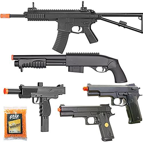 BBTac Airsoft Gun Package Desert Raider - Powerful Spring Rifle, Pump Action Shotgun, SMG, Two Pistols and BB Pellets, Preimum Airsoft Starter Pack