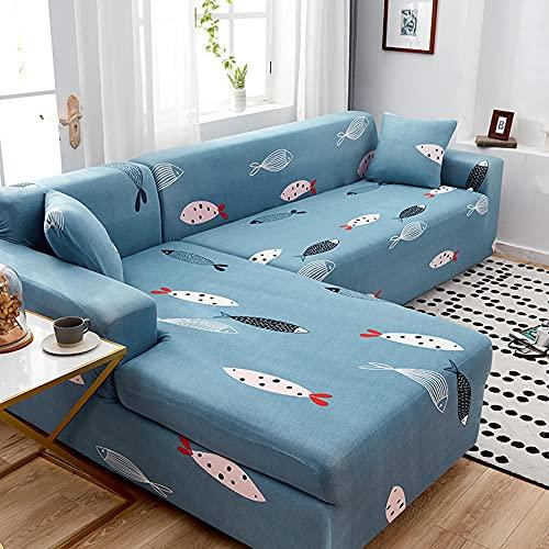 Cubiertas de sofá seccional 2pcs Cubiertas de sofá de Tramo con Forma de L Módulo de módulo de módulo con 2 Piezas de Almohadas de Almohadas L-Tipo Poliéster Tela Sofá Protector-00