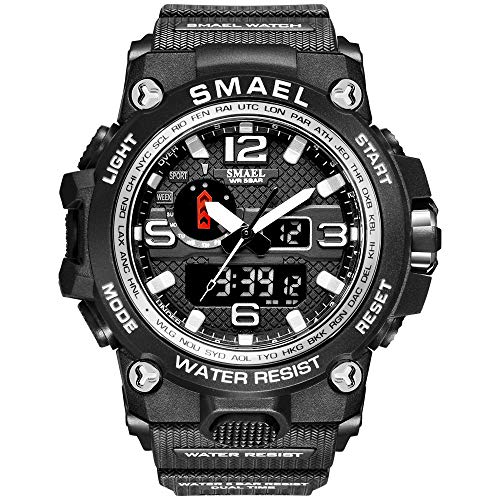 KXAITO Men's Watches Sports Outdoor Waterproof Military Watch Date Multi Function Tactics LED Alarm Stopwatch (sliver1)