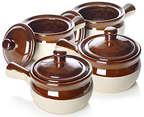 LIFVER French Onion Soup Crocks, 18oz Soup Bowls with Handles and Lids, Ceramic Bowls for Soup, Stew, Chilli, Set of 4