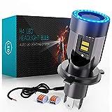 H4 LED per Moto con Controllabile Occhi Angelo, 6400LM Lampada DC 12V, 1 Confezione …...
