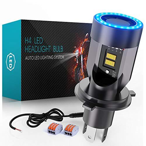 H4 LED per Moto con Controllabile Occhi Angelo, 6400LM Lampada DC 12V, 1 Confezione
