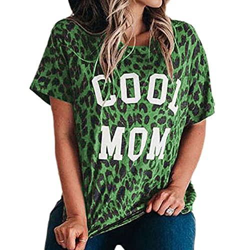 Camiseta de Manga Corta con Hombros caídos y Cuello Redondo con Estampado de Leopardo para Mujer