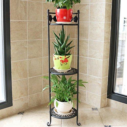 QFF Porte-fleurs en fer Multi-plancher - Style Pots de plancher Balcons Étagères de plantes Salon Étagère de fleurs simple (Couleur : Noir)