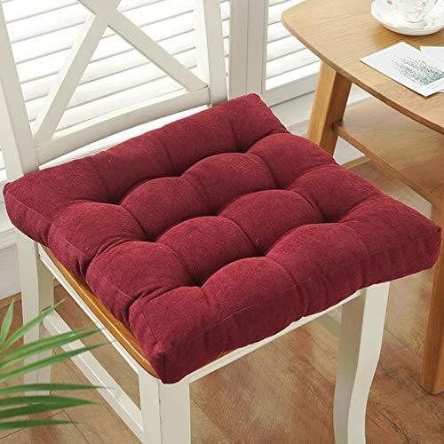GTD-Cojines para Exterior, Cojín de Asiento, Silla de cojín para Almohadillas para jardín para Exteriores Oficina de Cocina de Patio, en 12 Colores, 50 * 50cm (Color : Red)