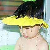 iBePro® Baby Safe Shampoo Shower Bathing Protection Soft Shower Cap Hat Wash Hair Shield for Children Kids to Keep The Water Out of Their Eyes & Face (Yellow)
