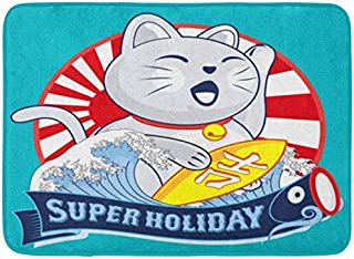 SZZWY Japan Japanese Maneki Neko Lucky Cat Tattoo Asian Restaurant Holiday Background Pattern Flannel Indoor Floor Mat Bath Rugs Prevent Shifting and skidding Super Absorbent 3D Printing 60x40cm