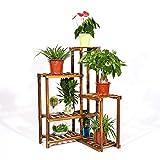 unho Estantería para Macetas Soporte de Madera para Flores con 6 Niveles Estantería Decorativa de Plantas para Esquina Exterior Interior Jardín Balcón 60×60×100cm