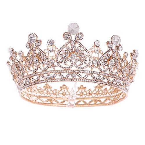 MIAOJI Tiara de Corona, Corona de Diamantes de imitación, círculo Completo en Forma de corazón, Tocado Nupcial, Accesorios para el Cabello, Elegante Diadema para Mujer, joyería