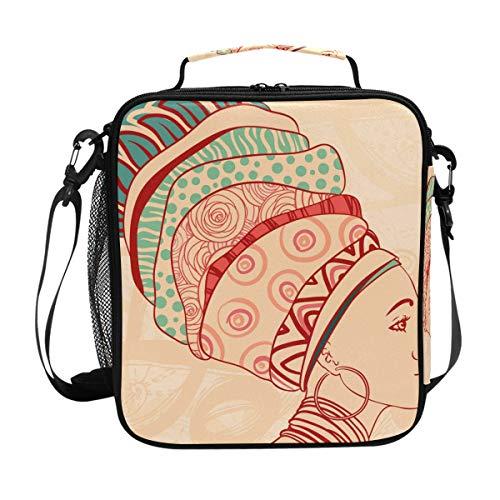 JSTEL Bolsa de almuerzo para mujer africana y elementos para el almuerzo, contenedor de alimentos gourmet, bolsa térmica para viajes, picnic, escuela, oficina