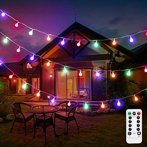LE Globe String Lights, Battery Operated, Ball String Lights with Remote, Timer and 8 Modes, 16.4ft 50 LED, Indoor Outdoor Decorative Fairy Lights for Bedroom, Party, Christmas and More (Multicolor)