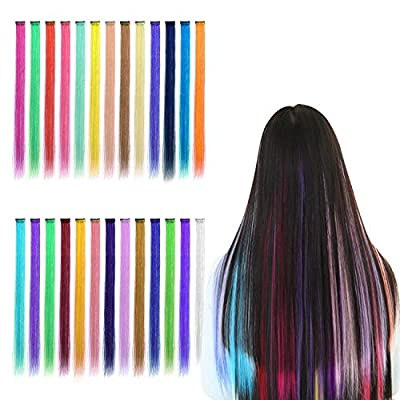 Color Hair Extensions Hairpiece Highlight Color Clip in Hair Extension Hairpiece Costume Wig for Cosplay Fancy Ball 20 Inches