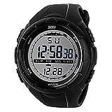 skmei 5ATM Montre-bracelet etanche a la mode pour homme Chronographe chronometre numerique LCD Casual Montre-bracelet de date surveillance sport noir