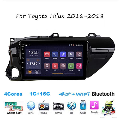 Für Toyota Hilux 2016-2018 Autoradio Radio Car Video Player GPS Navi Steering Wheel Control BT SD USB Hotspot WiFi 4G Analog TV SWC Mirrorlink Sygic GPS Verkehrsinfo Navigation,4cores,1G+16G