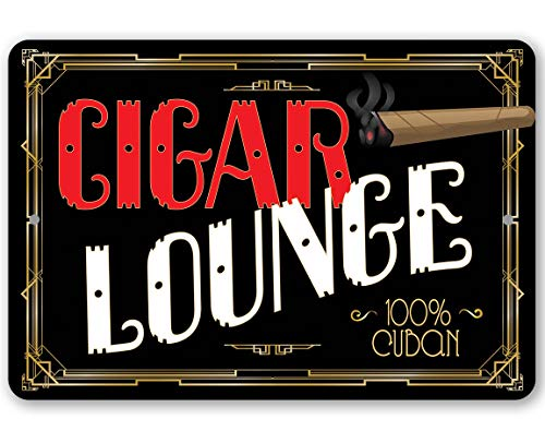 Flowershave357 Metal Sign Cigar Lounge Durable Metal Sign Use IndoorOutdoorGreat Gift for Cigar Lovers Home Bar Game Room or Man Cave Decor
