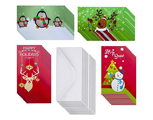 Christmas Money Card Gift Card Holders with Envelopes for Xmas Checks, Cash (25 Count)